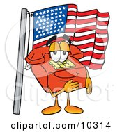 Clipart Picture Of A Red Telephone Mascot Cartoon Character Pledging Allegiance To An American Flag