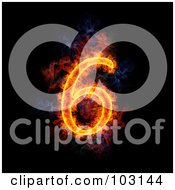 Royalty Free RF Clipart Illustration Of A Blazing Number 6 Symbol