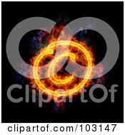 Royalty Free RF Clipart Illustration Of A Blazing Copyright Symbol by Michael Schmeling
