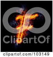 Royalty Free RF Clipart Illustration Of A Blazing Capital F Symbol by Michael Schmeling