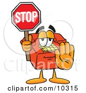 Clipart Picture Of A Red Telephone Mascot Cartoon Character Holding A Stop Sign