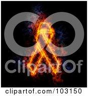 Royalty Free RF Clipart Illustration Of A Blazing Awareness Ribbon Symbol