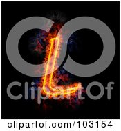 Royalty Free RF Clipart Illustration Of A Blazing Capital L Symbol