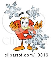 Clipart Picture Of A Red Telephone Mascot Cartoon Character With Three Snowflakes In Winter