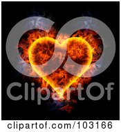 Royalty Free RF Clipart Illustration Of A Blazing Heart Symbol by Michael Schmeling