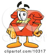 Clipart Picture Of A Red Telephone Mascot Cartoon Character Pointing At The Viewer