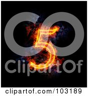 Royalty Free RF Clipart Illustration Of A Blazing Number 5 Symbol
