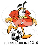 Clipart Picture Of A Red Telephone Mascot Cartoon Character Kicking A Soccer Ball