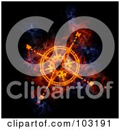 Royalty Free RF Clipart Illustration Of A Blazing Compass Symbol by Michael Schmeling