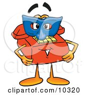 Clipart Picture Of A Red Telephone Mascot Cartoon Character Wearing A Blue Mask Over His Face