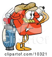 Clipart Picture Of A Red Telephone Mascot Cartoon Character Swinging His Golf Club While Golfing