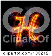 Royalty Free RF Clipart Illustration Of A Blazing Capital H Symbol
