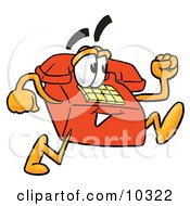Clipart Picture Of A Red Telephone Mascot Cartoon Character Running