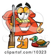Clipart Picture Of A Red Telephone Mascot Cartoon Character Duck Hunting Standing With A Rifle And Duck