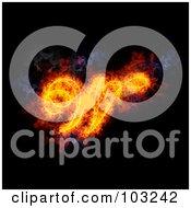 Royalty Free RF Clipart Illustration Of A Blazing Capital Italic W Symbol