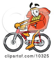 Red Telephone Mascot Cartoon Character Riding A Bicycle