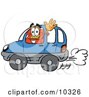Clipart Picture Of A Red Telephone Mascot Cartoon Character Driving A Blue Car And Waving