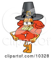 Clipart Picture Of A Red Telephone Mascot Cartoon Character Wearing A Pilgrim Hat On Thanksgiving by Toons4Biz
