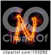 Royalty Free RF Clipart Illustration Of A Blazing Capital N Symbol