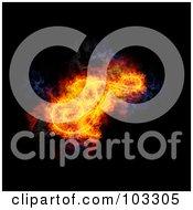 Royalty Free RF Clipart Illustration Of A Blazing Capital Italic F Symbol