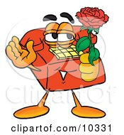 Clipart Picture Of A Red Telephone Mascot Cartoon Character Holding A Red Rose On Valentines Day