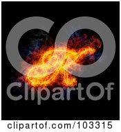 Royalty Free RF Clipart Illustration Of A Blazing Capital Italic K Symbol