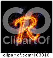 Royalty Free RF Clipart Illustration Of A Blazing Capital R Symbol