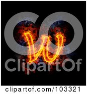 Royalty Free RF Clipart Illustration Of A Blazing Lowercase W Symbol