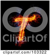 Royalty Free RF Clipart Illustration Of A Blazing Capital T Symbol