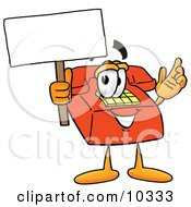 Clipart Picture Of A Red Telephone Mascot Cartoon Character Holding A Blank Sign