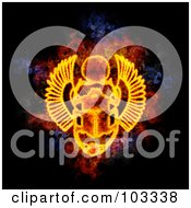 Royalty Free RF Clipart Illustration Of A Blazing Scarab Symbol by Michael Schmeling