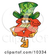 Clipart Picture Of A Red Telephone Mascot Cartoon Character Wearing A Saint Patricks Day Hat With A Clover On It