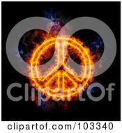 Royalty Free RF Clipart Illustration Of A Blazing Peace Symbol