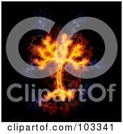 Royalty Free RF Clipart Illustration Of A Blazing Tree Symbol
