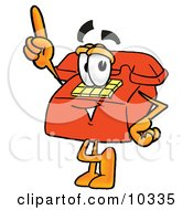 Clipart Picture Of A Red Telephone Mascot Cartoon Character Pointing Upwards