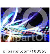 Royalty Free RF Clipart Illustration Of A Background Of Fractal Lights And Colorful Equalizer Dots