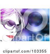 Royalty Free RF Clipart Illustration Of A Pretty Woman Wearing Shades Over A Pixel Background