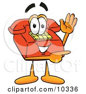 Clipart Picture Of A Red Telephone Mascot Cartoon Character Waving And Pointing