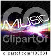 Royalty Free RF Clipart Illustration Of White Music Over Colorful Lines And Fractal Bursts On Black