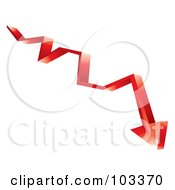 Royalty Free RF Clipart Illustration Of A 3d Red Arrow Shooting Down by MilsiArt
