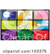 Royalty Free RF Clipart Illustration Of A Digital Collage Of Nine Business Card Designs With Sample Text 1