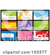 Royalty Free RF Clipart Illustration Of A Digital Collage Of Nine Business Card Designs With Sample Text 3