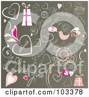 Royalty Free RF Clipart Illustration Of A Background Of Pink Valentines Day Doodles On Brown