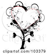 Royalty Free RF Clipart Illustration Of A Grungy Heart Tree With Black Foliage by MilsiArt