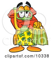 Clipart Picture Of A Red Telephone Mascot Cartoon Character In Green And Yellow Snorkel Gear