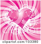 Royalty Free RF Clipart Illustration Of A Shiny Pink Heart With Grungy White Vines Over Swirling Pink