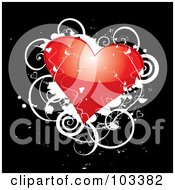 Royalty Free RF Clipart Illustration Of A Shiny Red Heart With White Vines And Grunge On Black by MilsiArt
