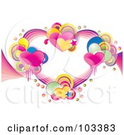 Royalty Free RF Clipart Illustration Of Clusters Of Shiny Hearts Stars Halftone And Circles Forming A Heart by MilsiArt