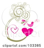 Royalty Free RF Clipart Illustration Of A Pink Singing Bird On A Heart With Grungy Heart Vines by MilsiArt