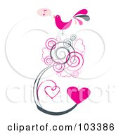 Royalty Free RF Clipart Illustration Of A Bird Singing A Love Song On Grungy Heart Vines